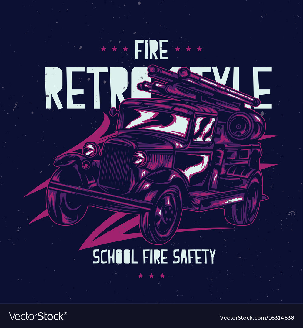 T-shirt label design with vintage fire truck
