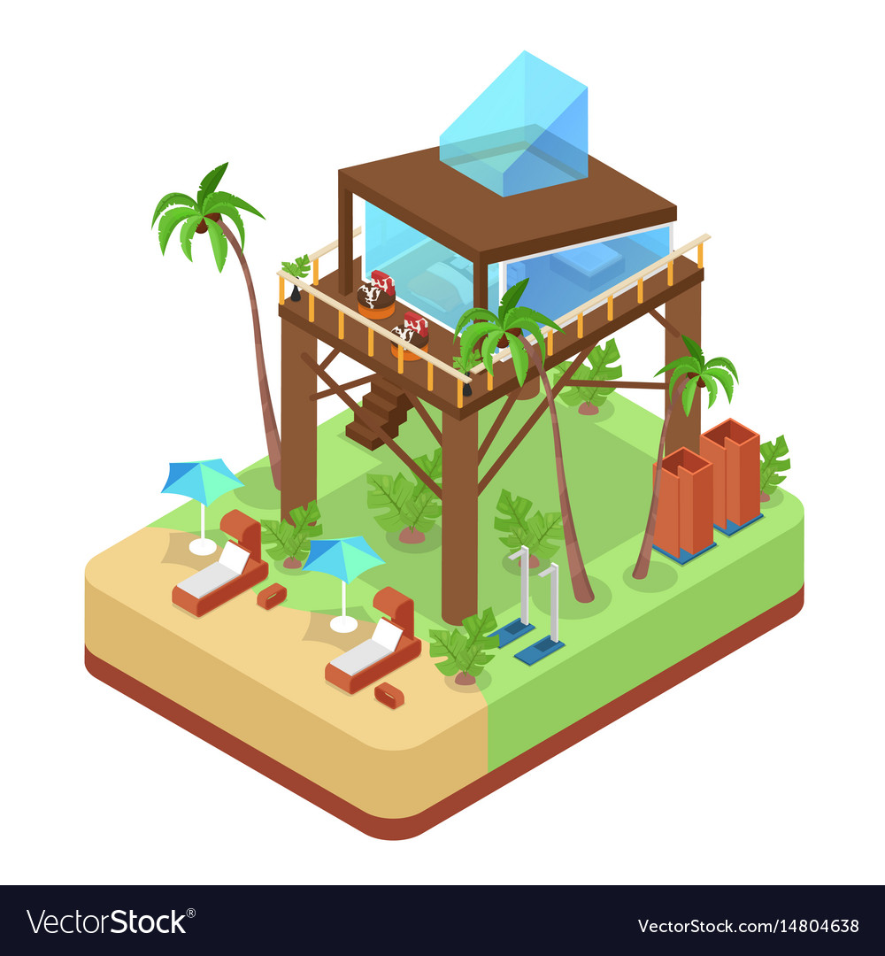 Tropical bungalow with jet ski beach isometric