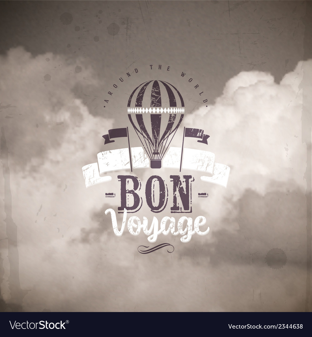 Vintage type design with hot air balloon