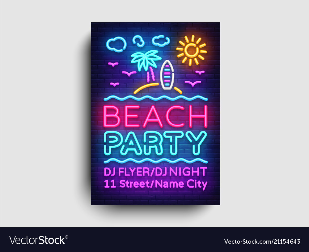 Beach party invitation card design template