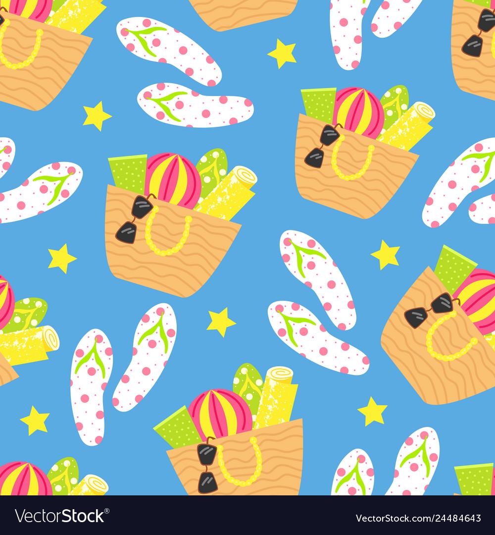 Cartoon seamless pattern summer background beach