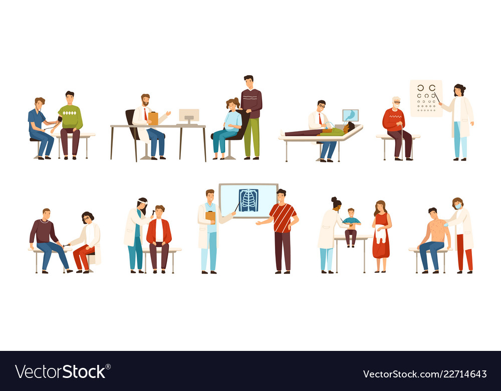 Collection of people visiting various doctors or