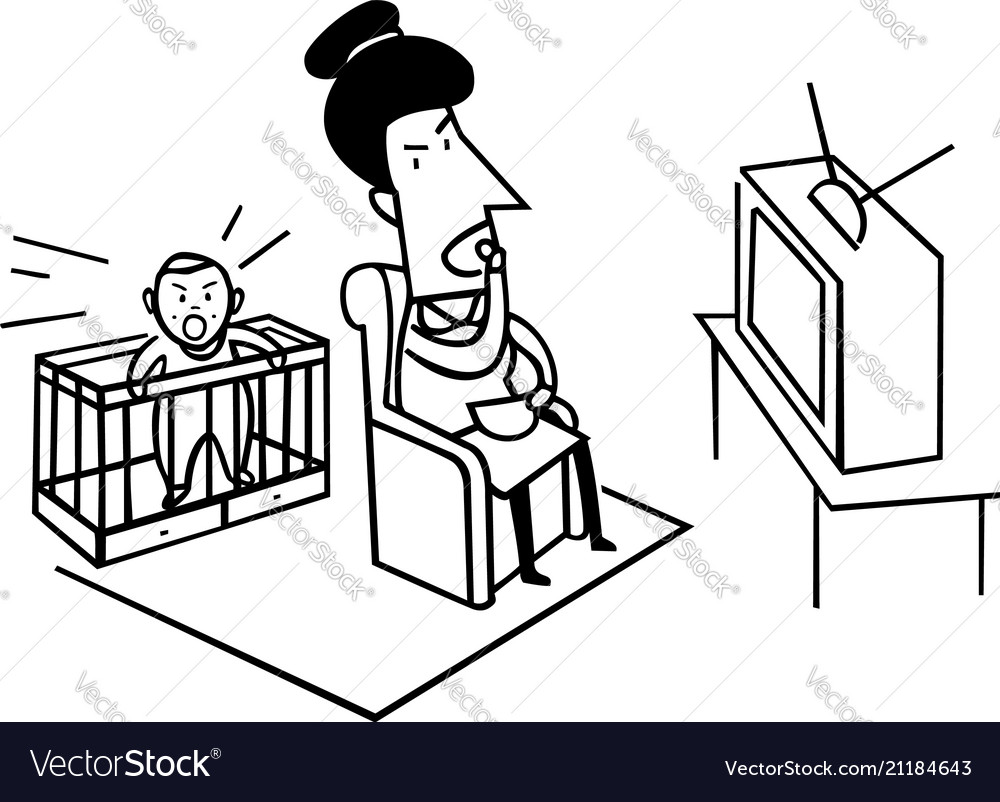 Cry baby with mom watching tv bad parenting