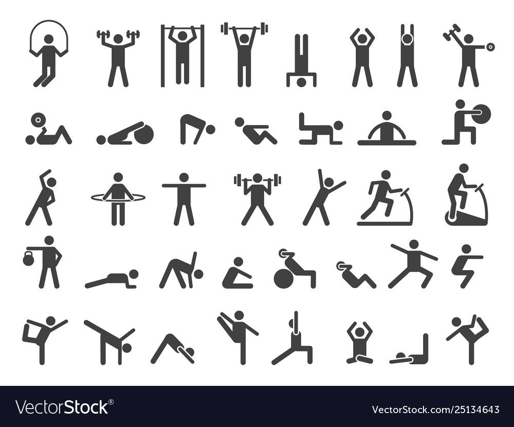 Fitness symbols sport exercise stylized people