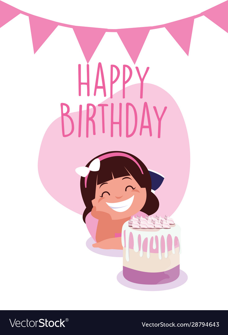 Girl Cartoon With Happy Birthday Cake Royalty Free Vector