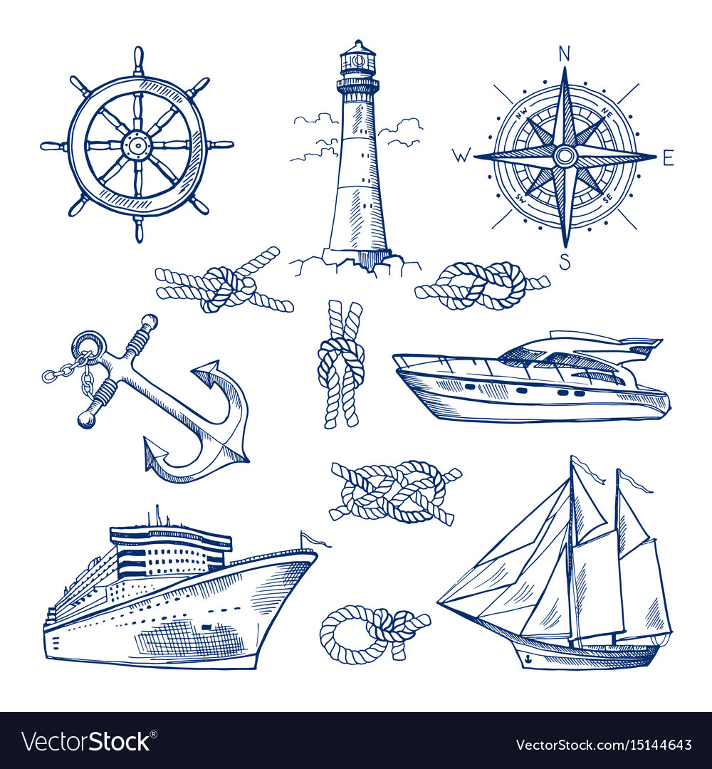Marine doodles set with ships boats and nautical