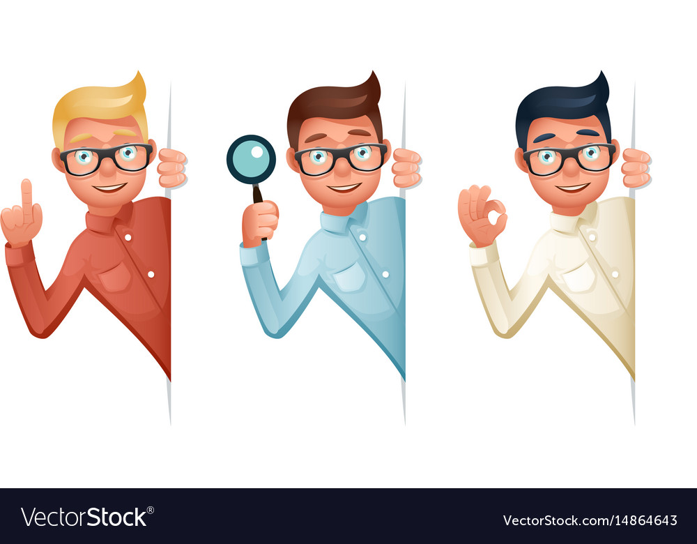 Search help looking out corner cartoon businessman