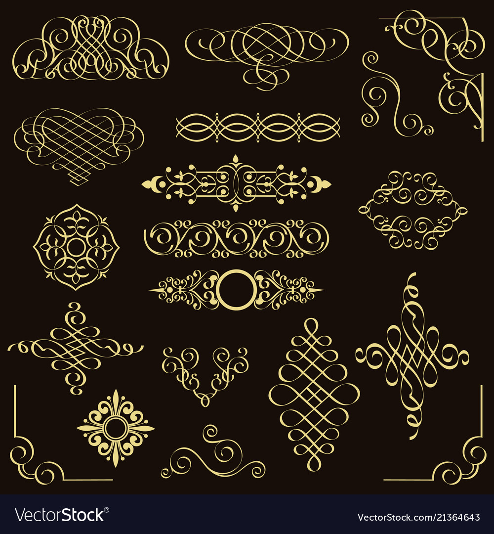 Set of golden vintage design elements