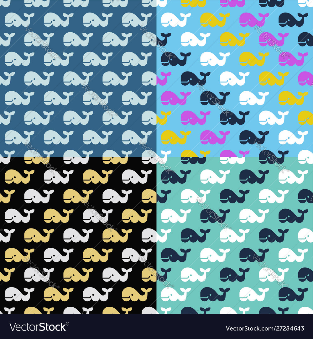 Set whale seamless patterns