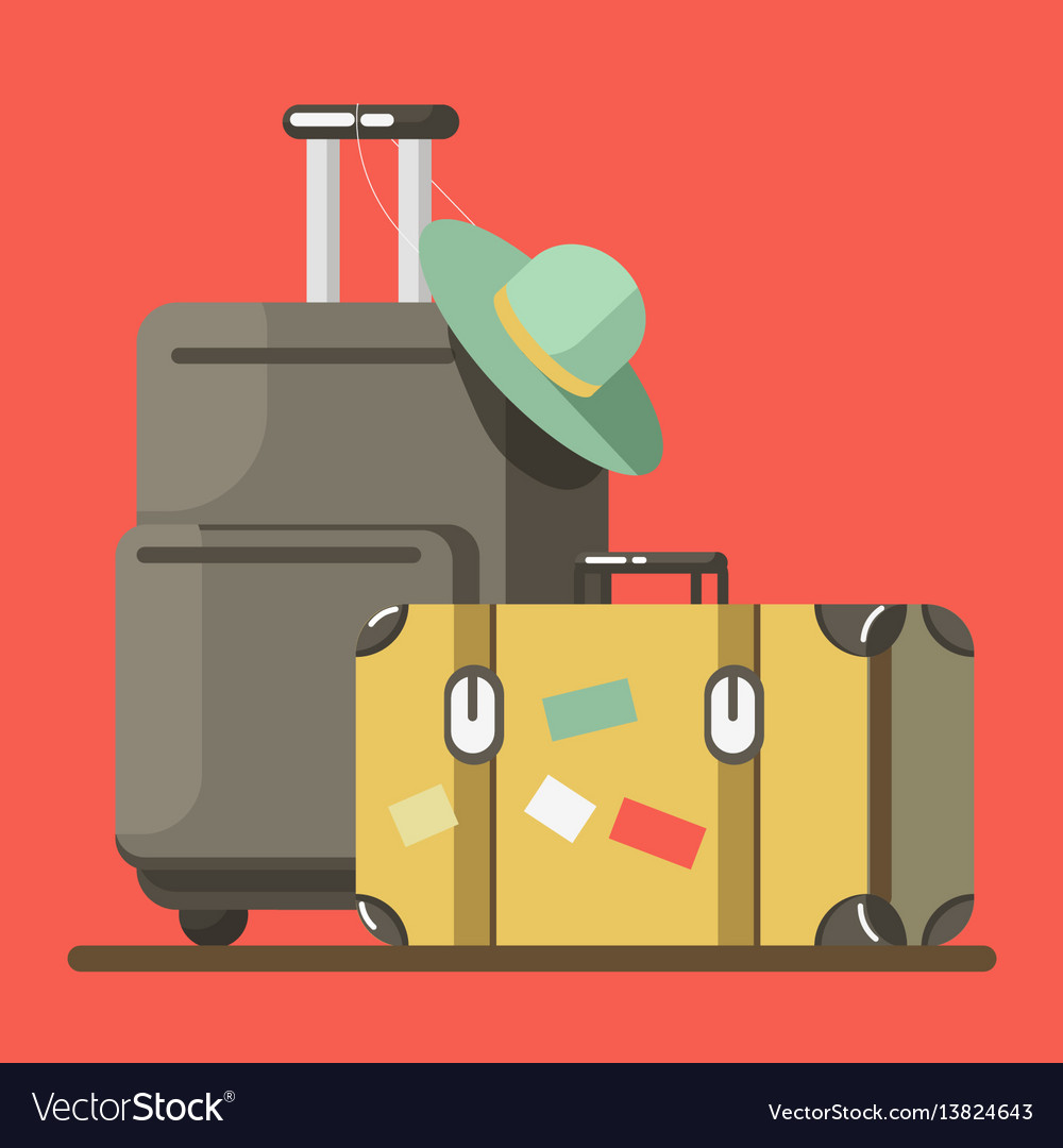 Suitcase on wheels with hat and old fashioned
