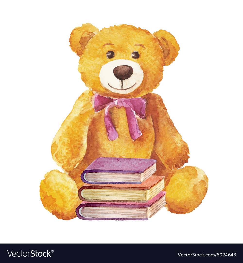 Teddy bear sitting with books watercolor Stock