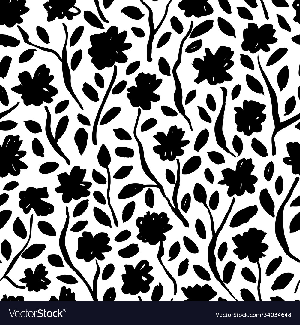 Brush black flowers seamless pattern