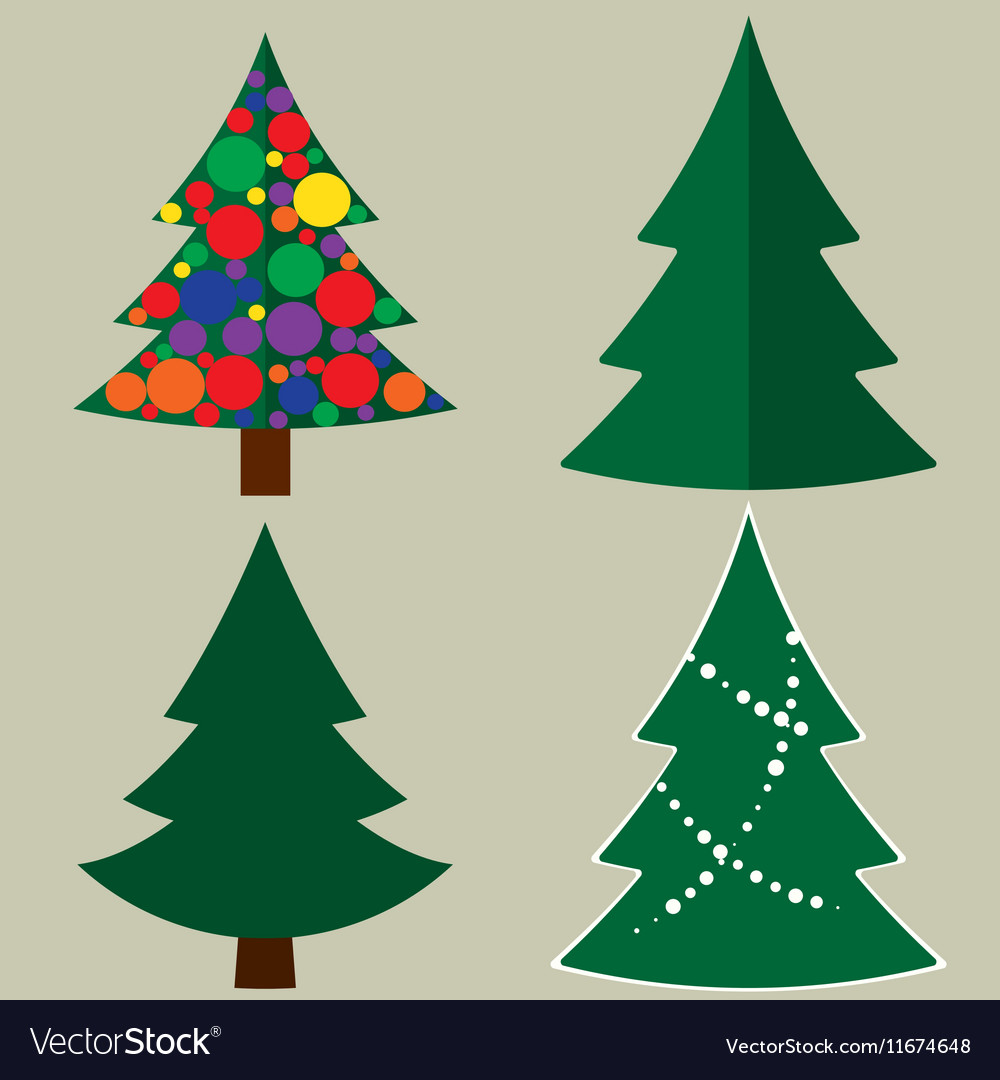 Christmas Trees Silhouette.Christmas Tree Cartoon Icons Set Green Silhouette
