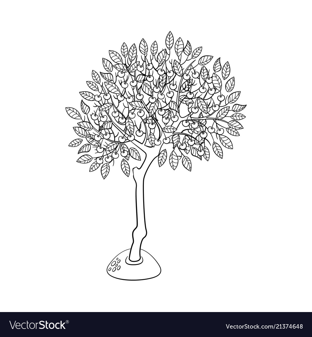 Flat green abstract tree with foliage icon