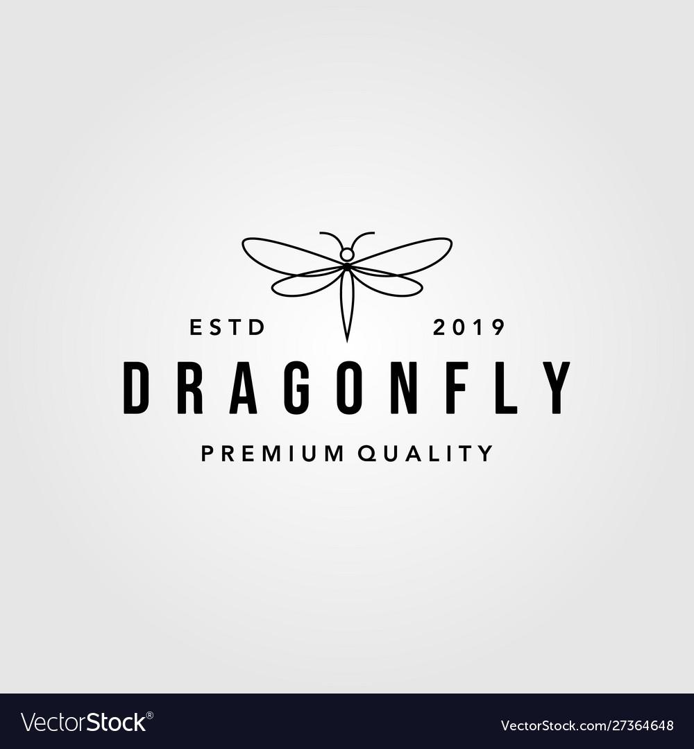 Line art dragonfly vintage logo design