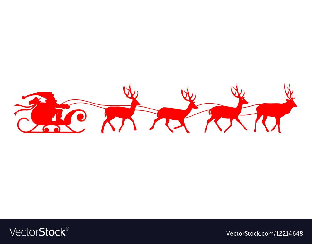 Santa Sleigh Reindeer Red Silhouette Vector Image