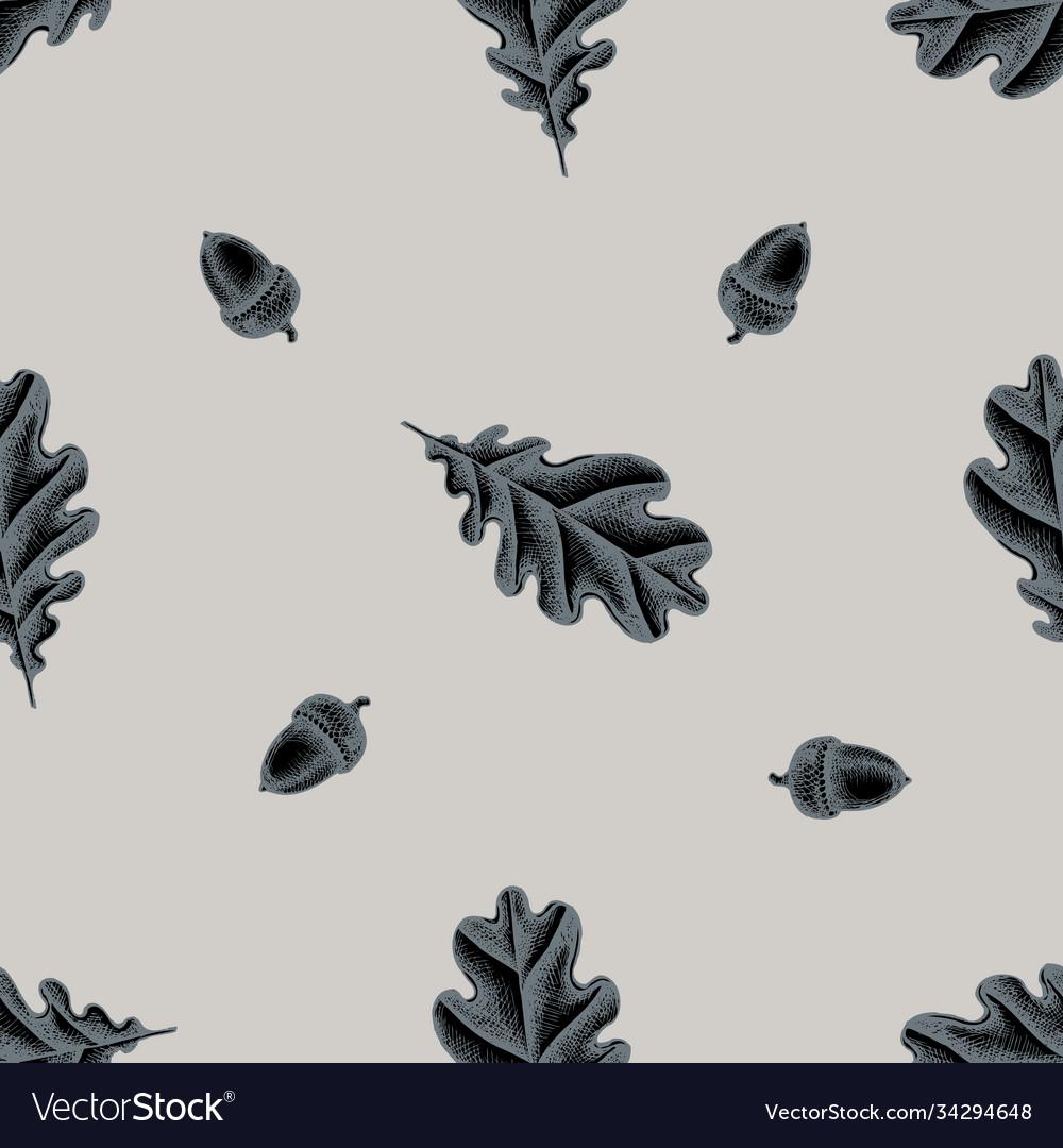 Seamless pattern with hand drawn stylized oak