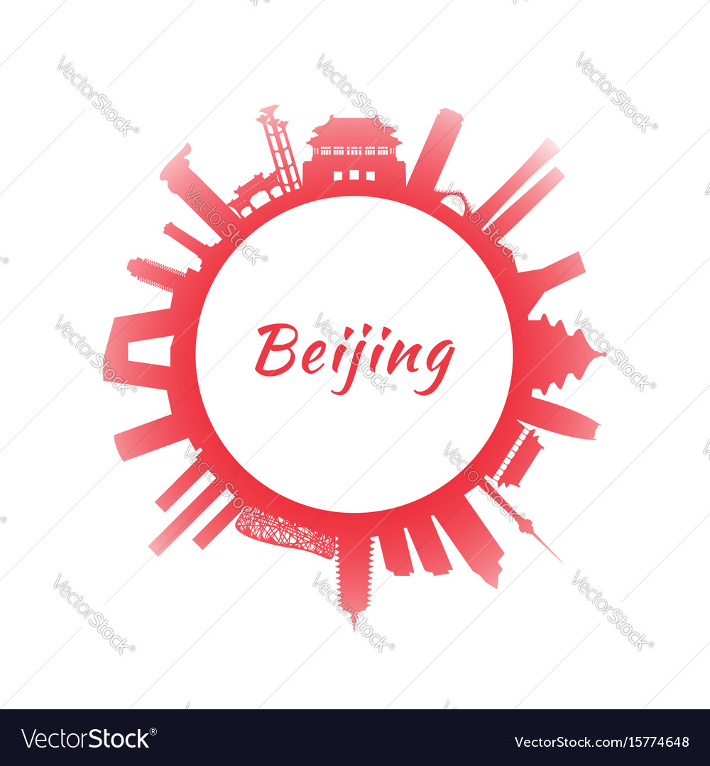 Silhouette beijing skyline with red buildings vector image