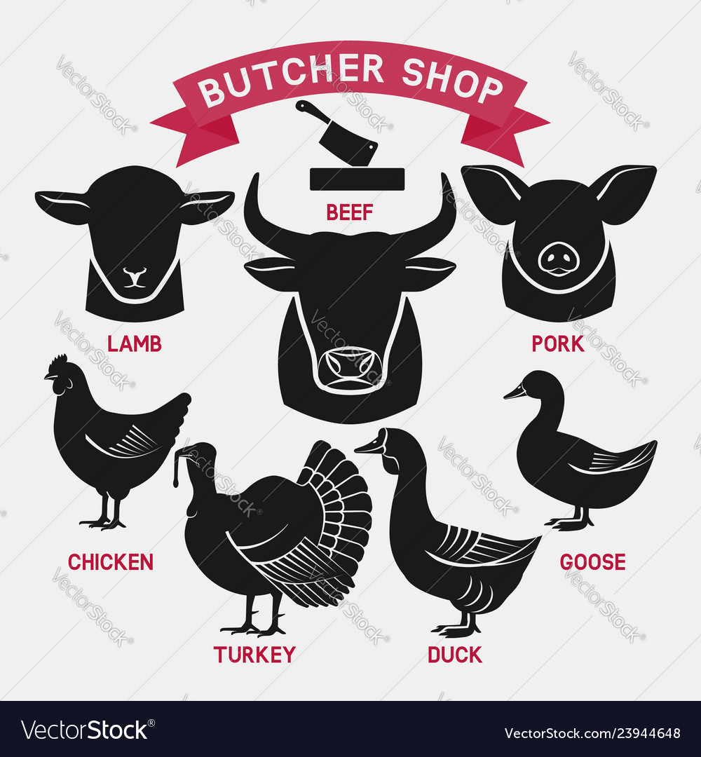 Silhouettes of animals set butcher shop icons