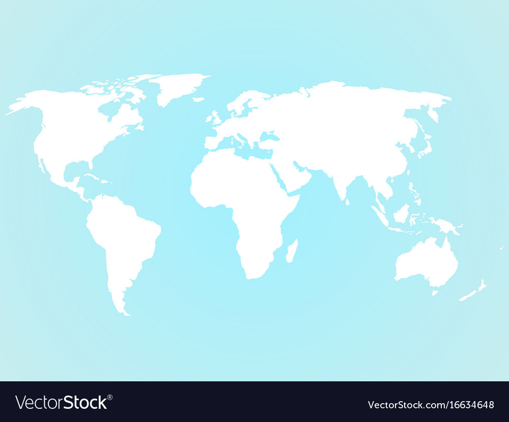 Simplified White World Map Silhouette On Turquoise Vector Image