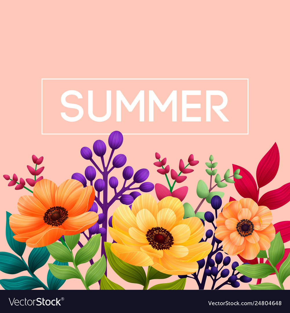 Summer tropical design template with leaves and