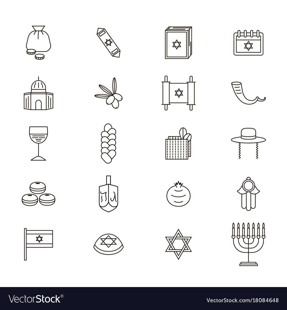 Symbol of israel thin line icon set