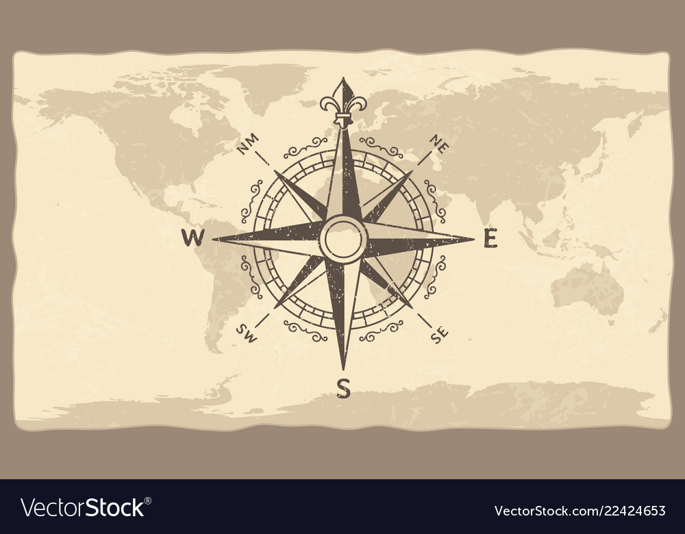 Antique compass on world map vintage geographic