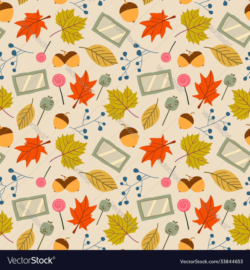 Autumn leaves - seamless pattern background