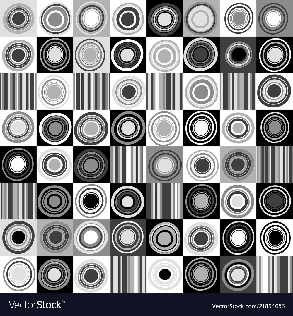 Black and white background with dots circles and