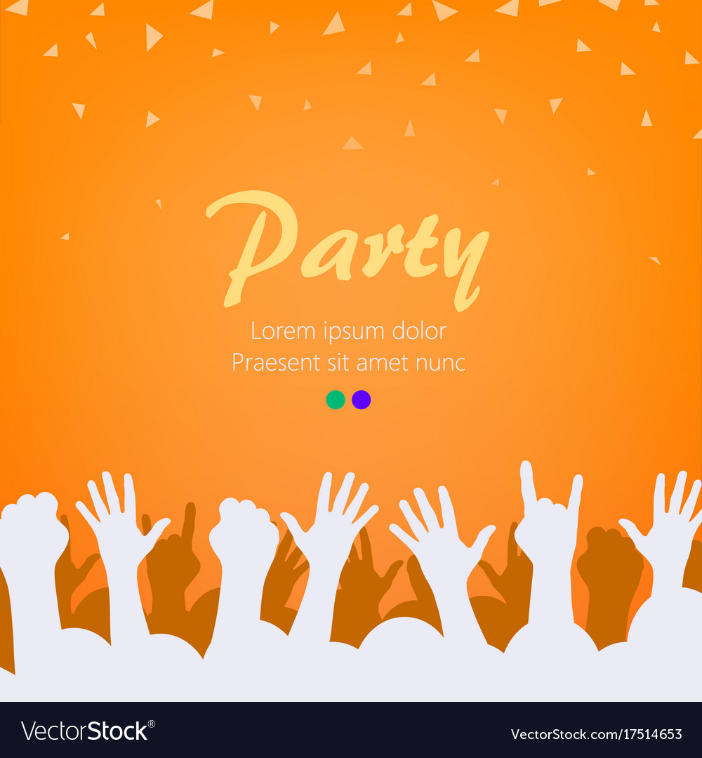 Bright orange party background group of people