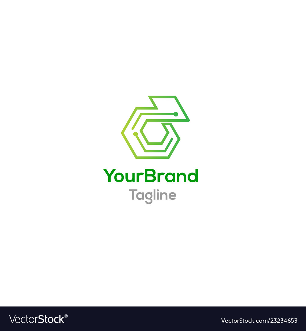 Chameleon Green Tech Logo Template Royalty Free Vector Image