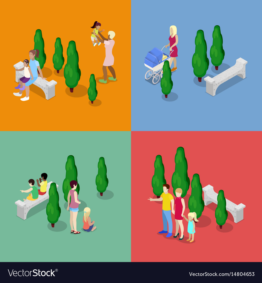 Children walking with parents family isometric
