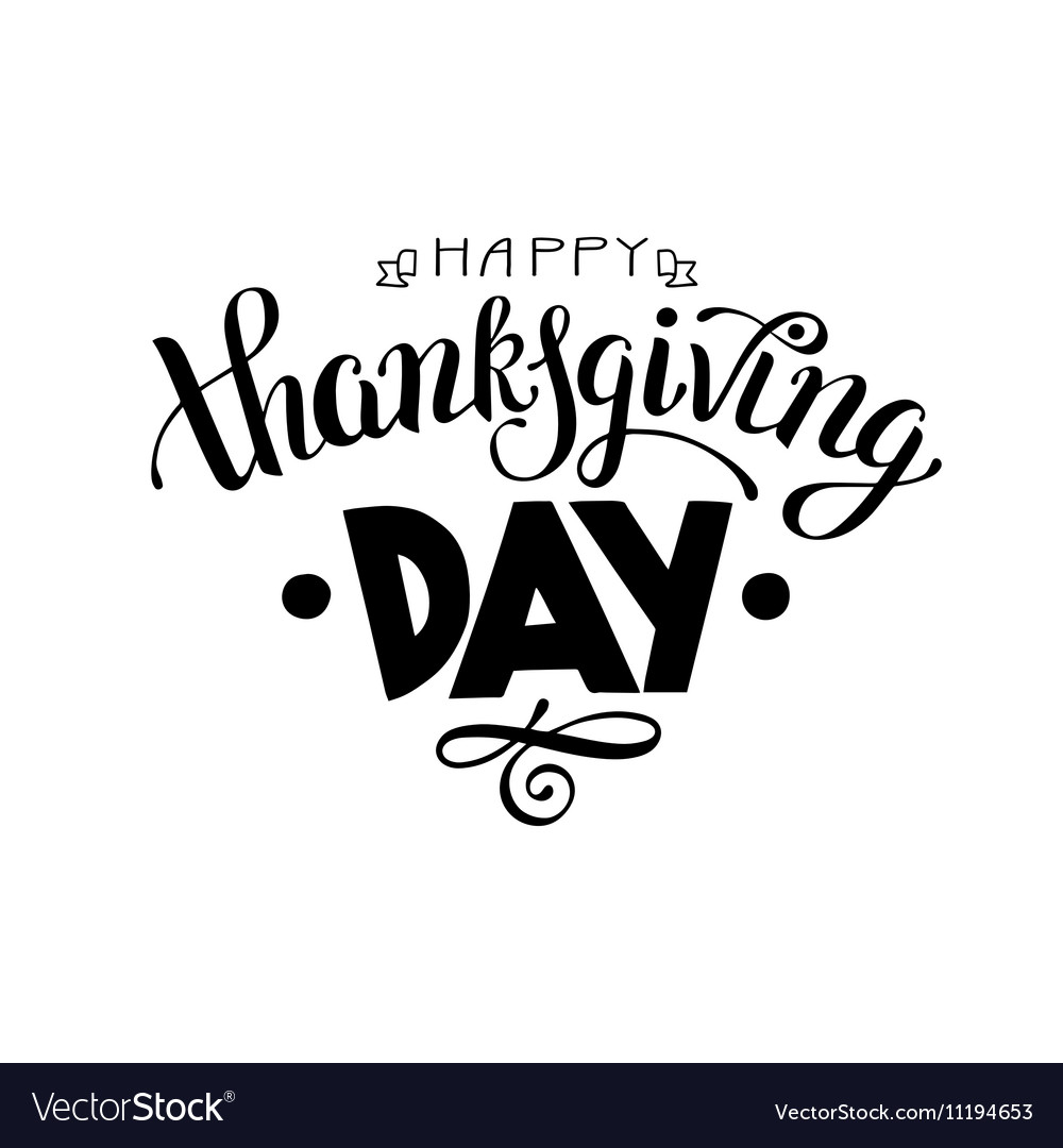 Happy Thanksgiving Day black and white handwritten vector image