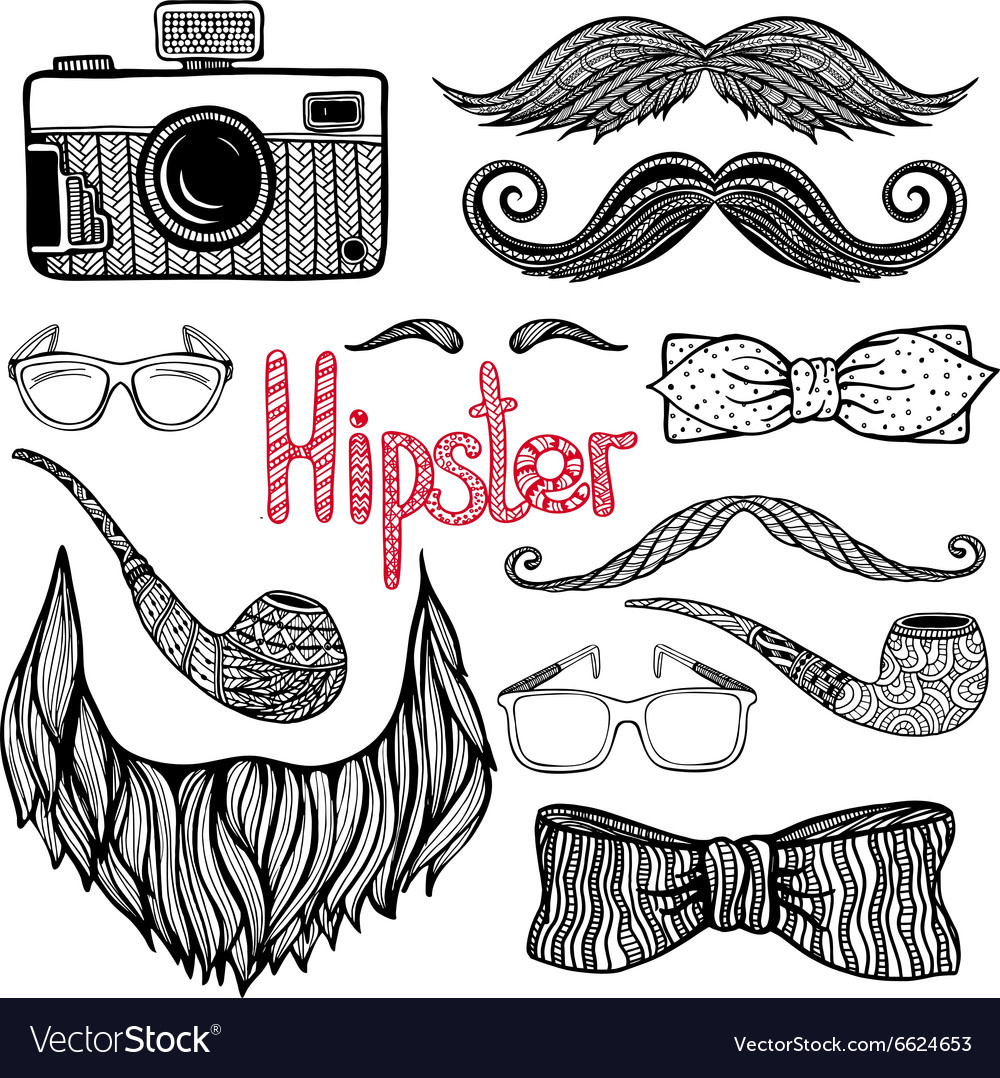 Hipster hair style accessories icons set