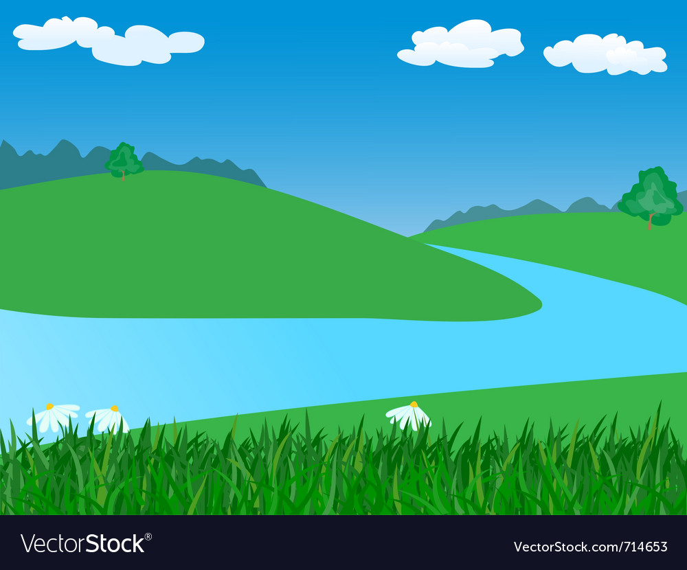 landscape with river royalty free vector image vectorstock