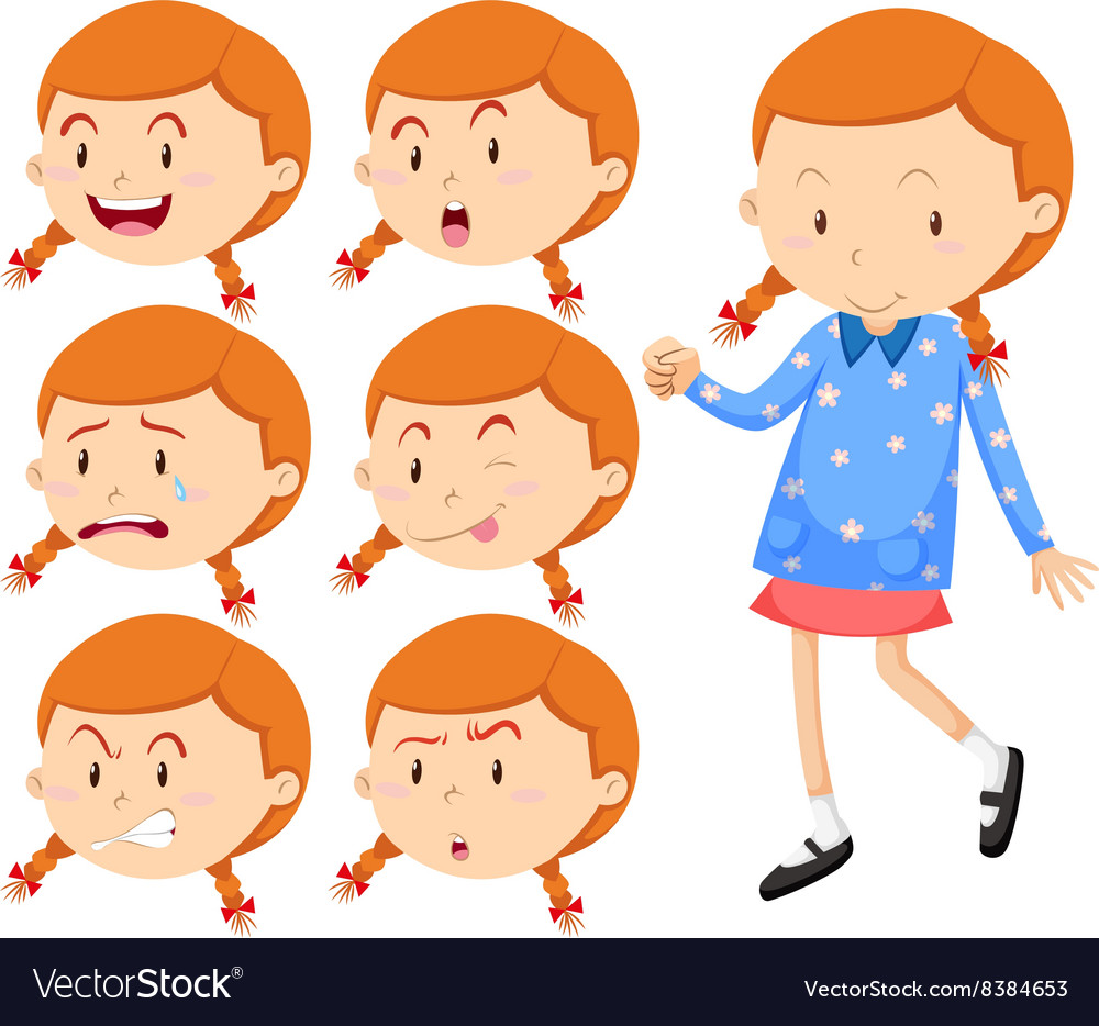 Little girl with different faces vector image