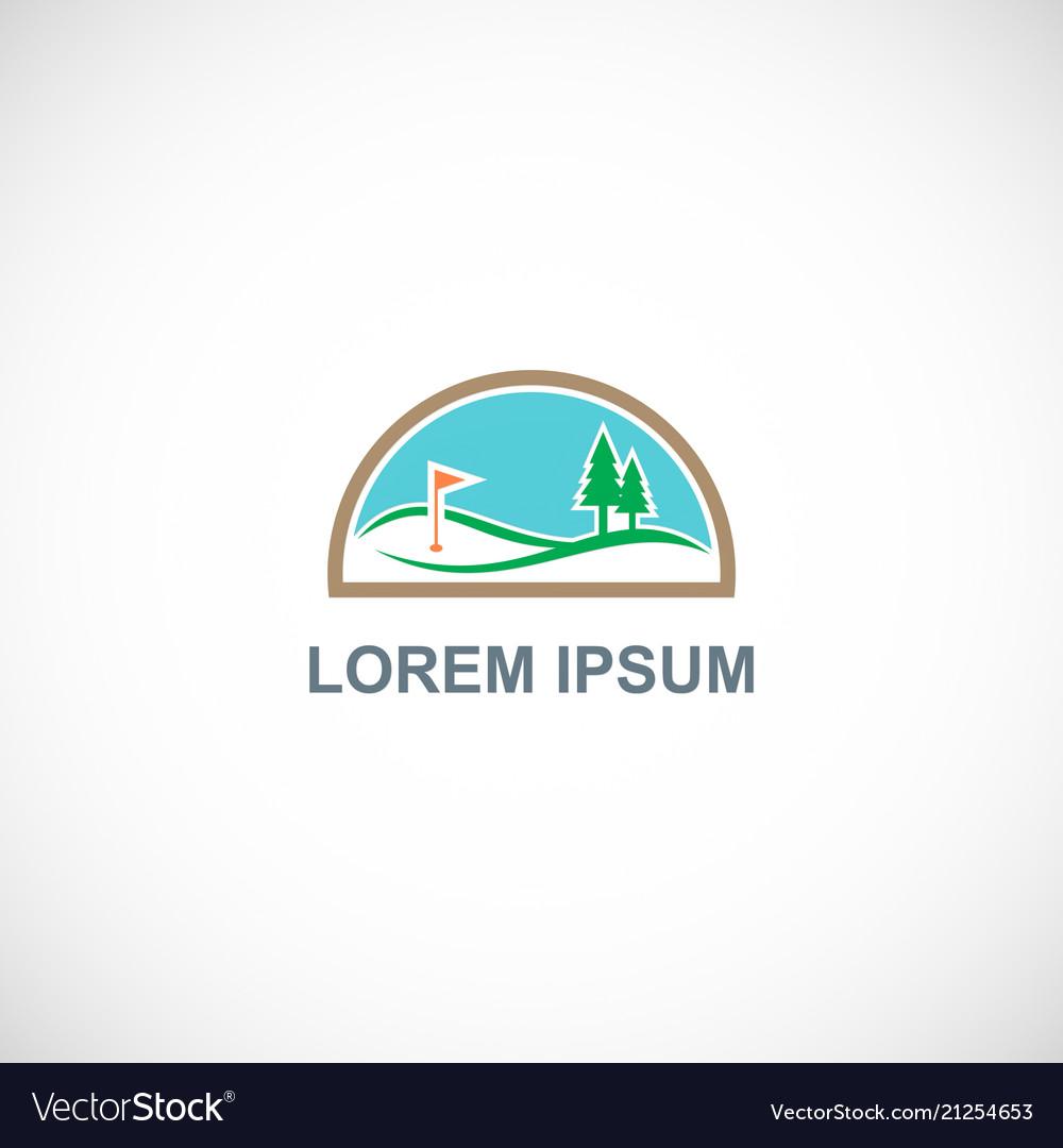 Nature golf landscape logo