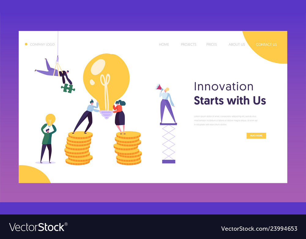 People working new project concept landing page