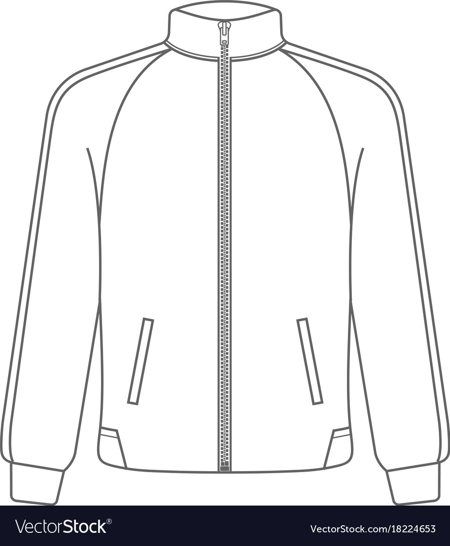 Polo Sport Jacket Mock Up Outline Style Royalty Free Vector