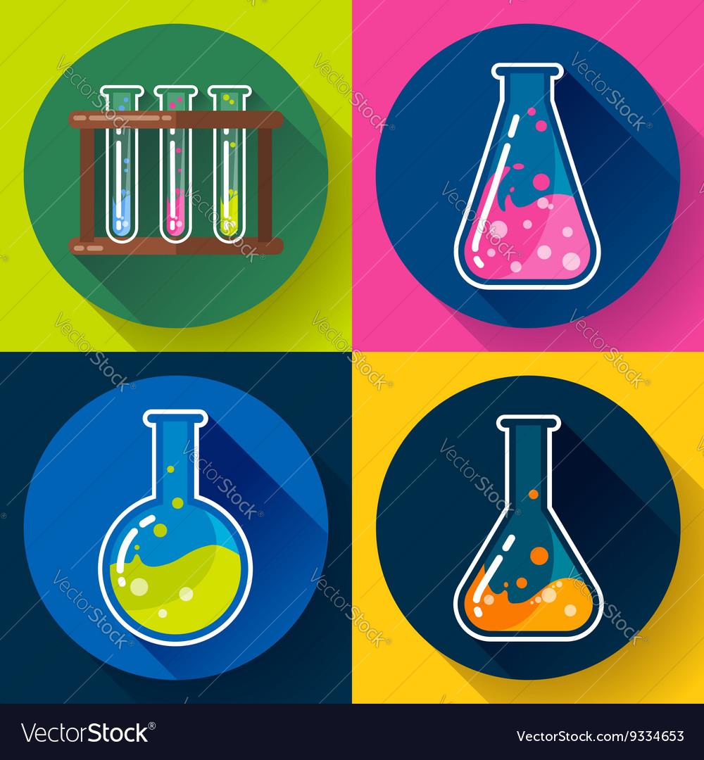 Set of Chemical lab flasks icons Flat design