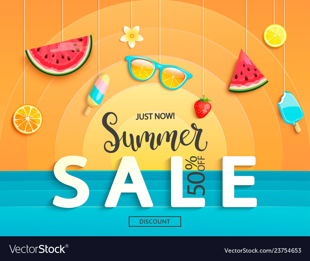 Summer sale banner with fruits