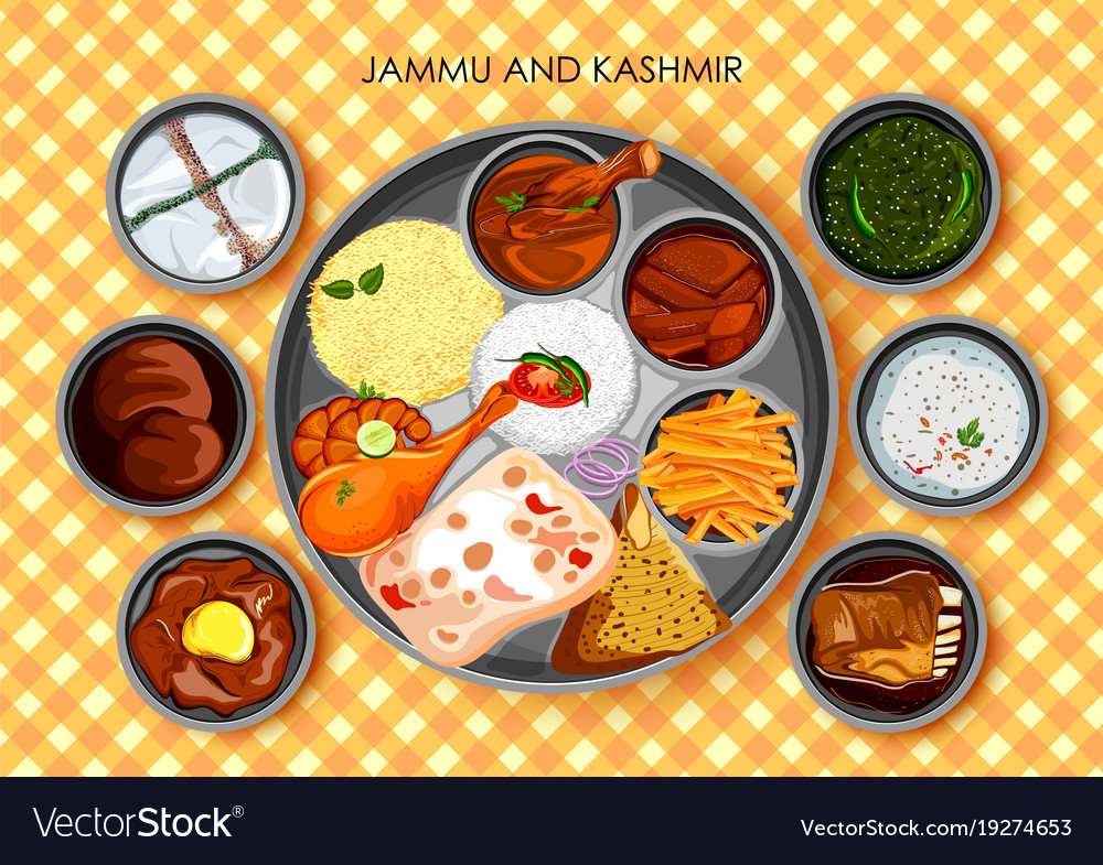 Traditional cuisine and food meal thali of jammu