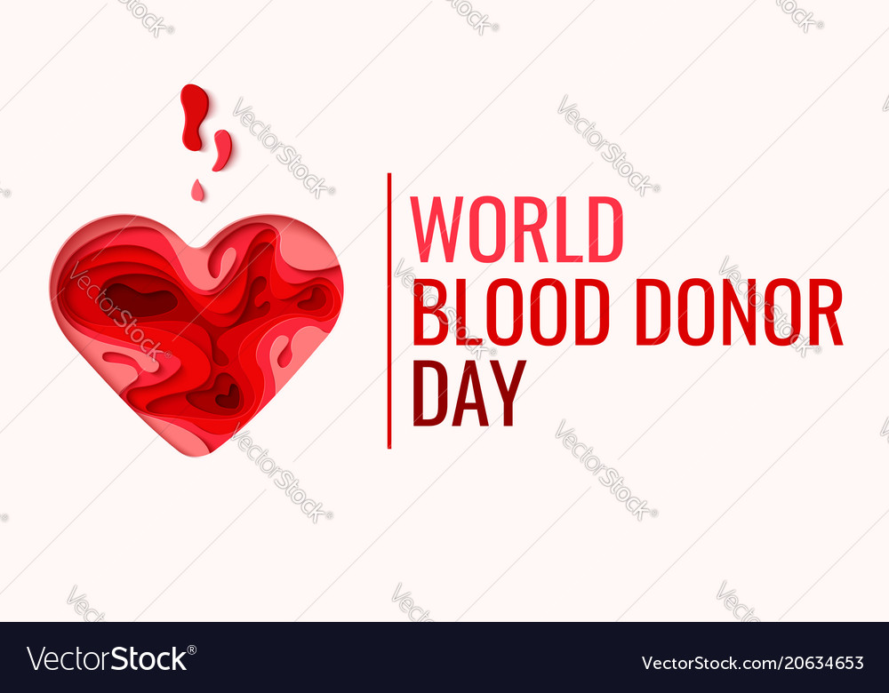 World blood donor day - red paper cut blood drop