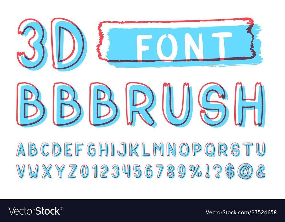 3d bold brush sans serif font hand drawn artistic