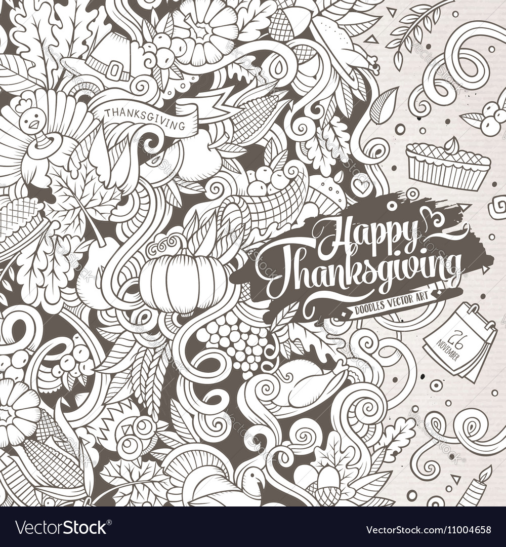 Cartoon hand-drawn Doodle Thanksgiving