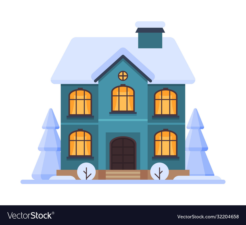 Cute snowy house two storey cottage building