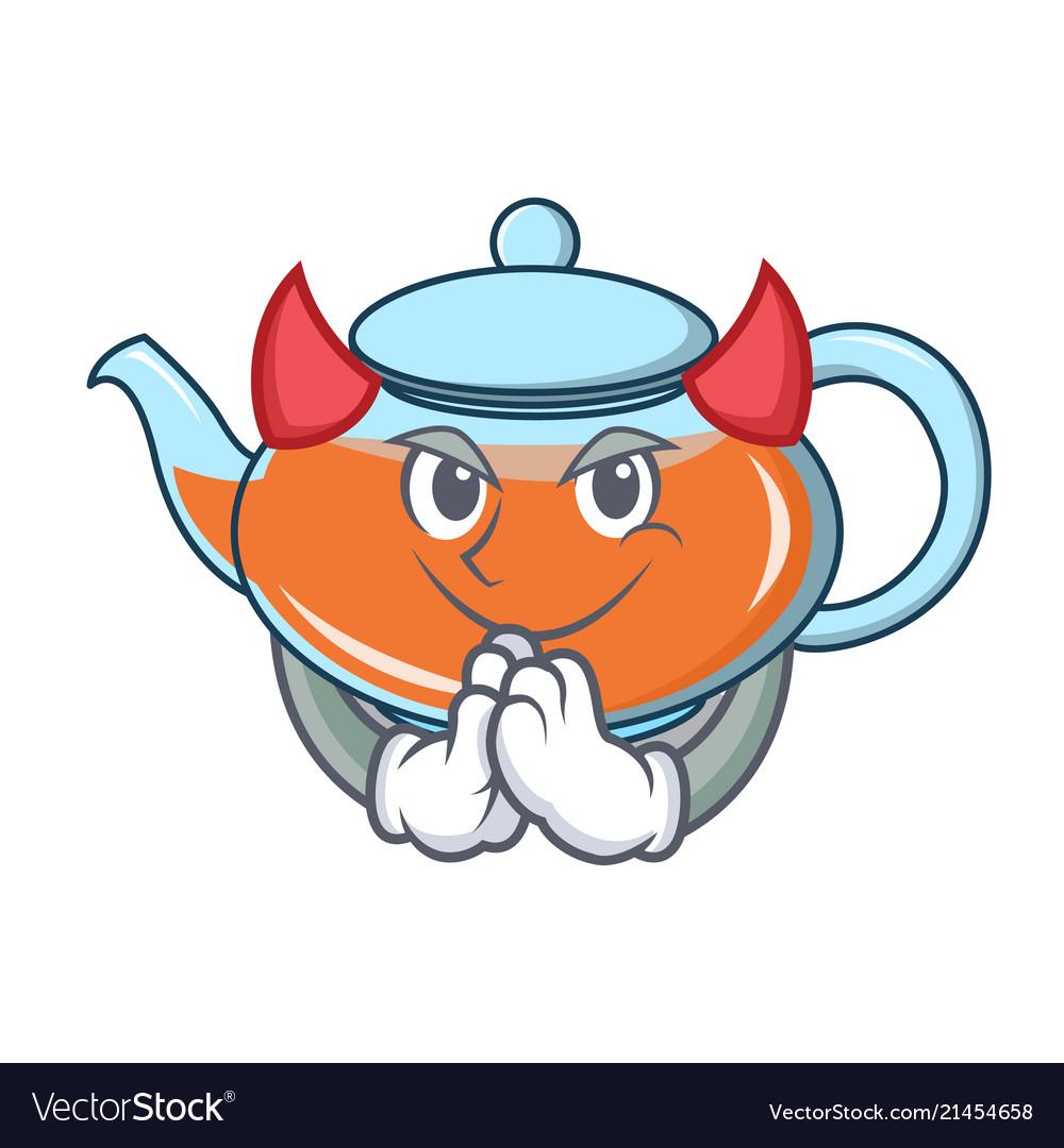 Devil Transparent Teapot Character Cartoon Vector Image