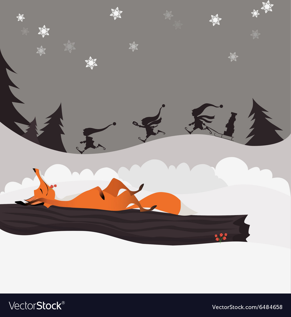Red fox in winter christmas forest and elves