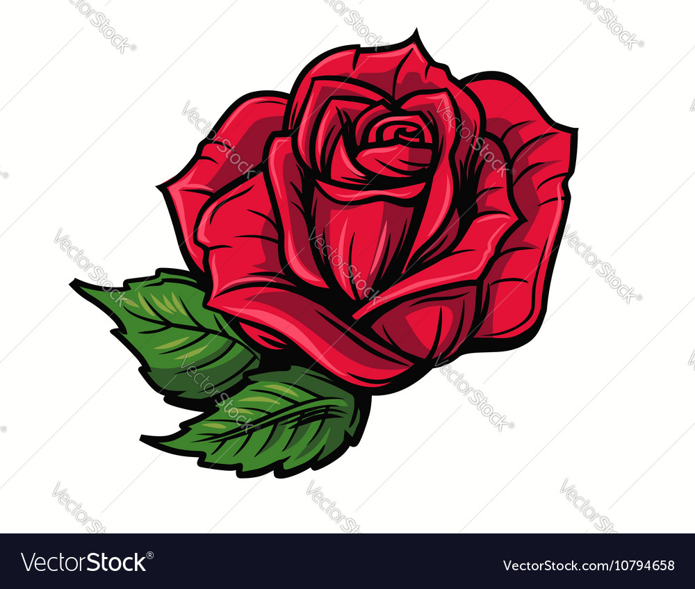 red rose cartoon royalty free vector image vectorstock