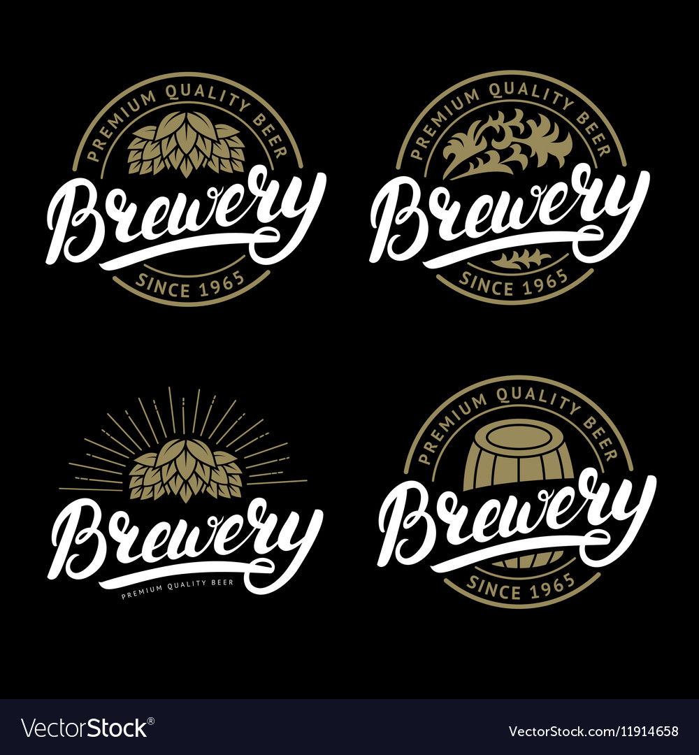 Set of Brewery hand written lettering logo label